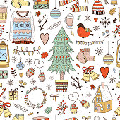 Winter Christmas seamless vector pattern. Cozy winter and New Year background with cute illustrations