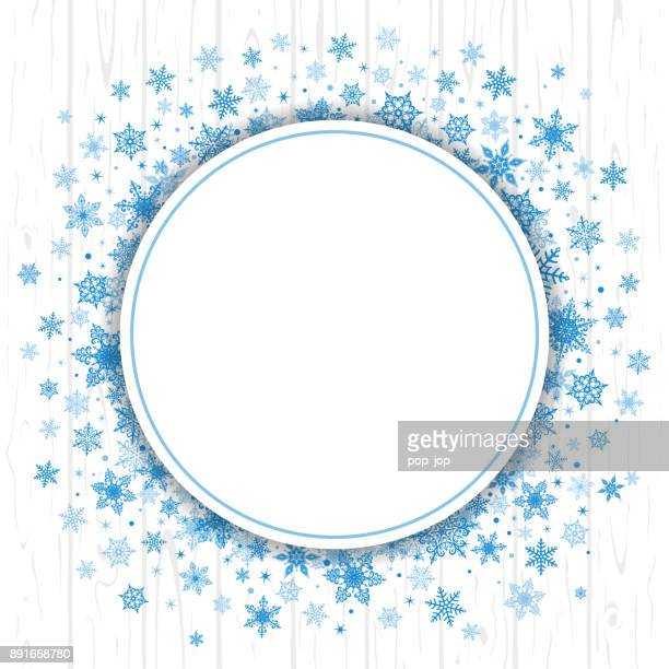 Winter Christmas Snowflakes Round Background - Vector