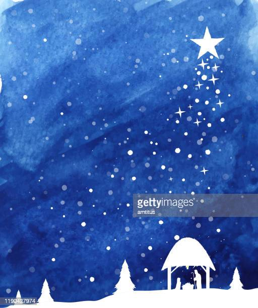 winter christmas template - nativity scene stock illustrations