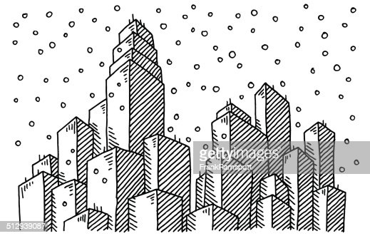 winter city skyline snowing drawing vector art