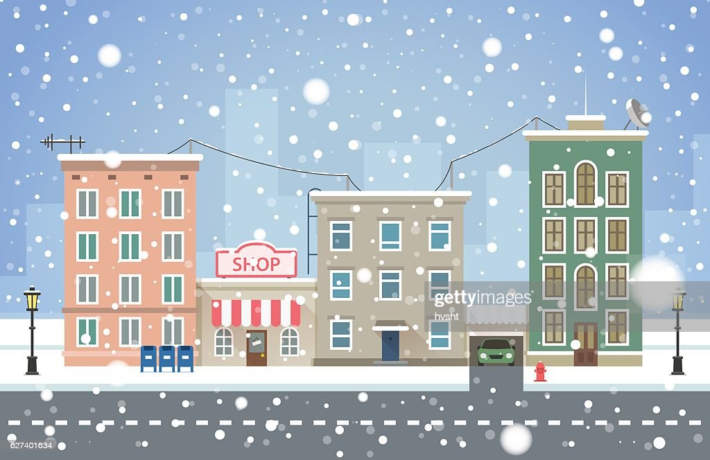 Winter cityscape. Snowfall in small town vector illustration.