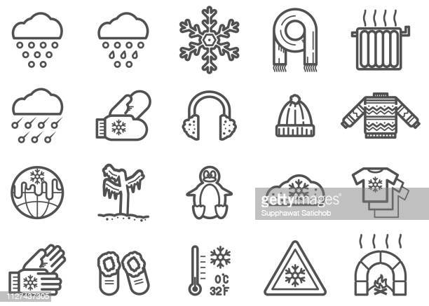 winter clip art vectors and line icons set - electric heater stock illustrations, clip art, cartoons, & icons