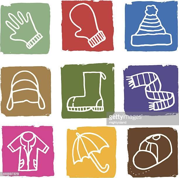 Winter clothes icon set