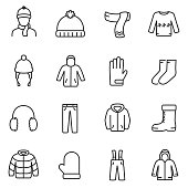 Winter clothes icons set. Line with editable stroke