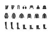Winter clothes, shoes black icons set. Vector