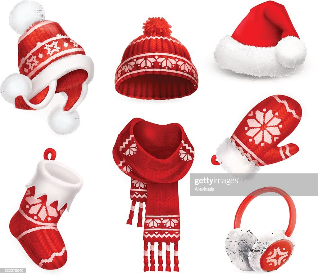 Winter clothes vector icon set