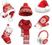 Winter clothes vector icon set
