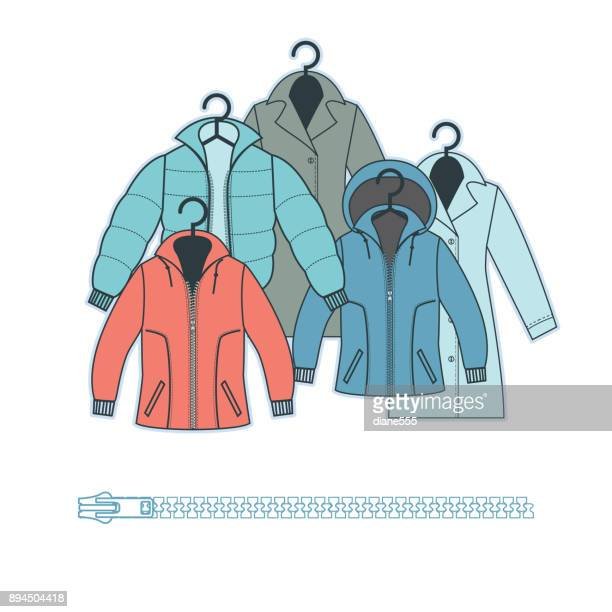 winter clothing - jacket stock illustrations