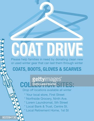 Winter Coat Drive Charity Poster Template Vector Art