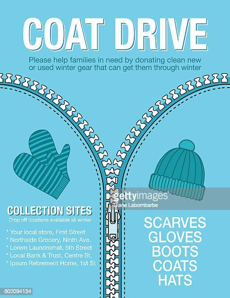 winter coat drive charity poster template. - motivation stock illustrations, clip art, cartoons, & icons