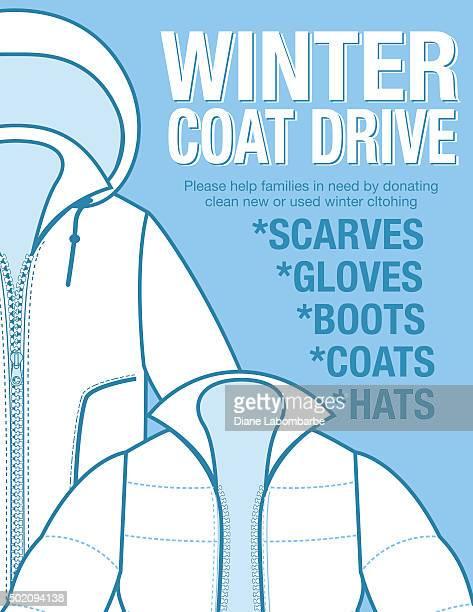 ilustrações, clipart, desenhos animados e ícones de casaco de inverno de carro de caridade modelo de cartaz. - casaco