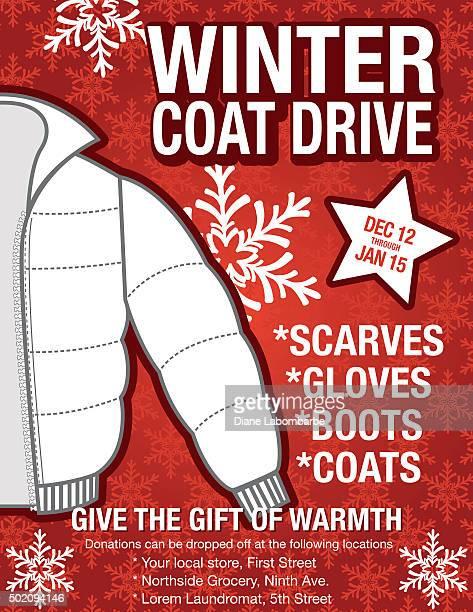 winter coat drive charity poster template. - coat garment stock illustrations