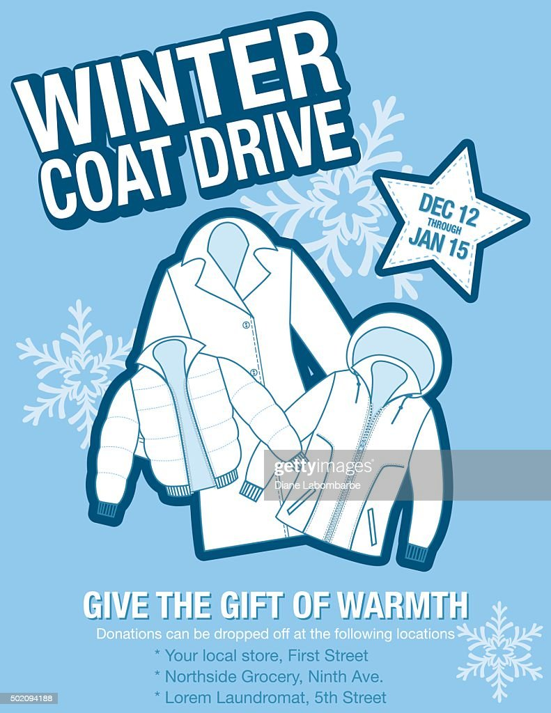 Winter Coat Drive Charity Poster Template. : Vector Art  Clothing Drive Flyer Template
