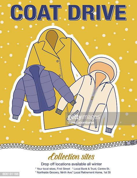 stockillustraties, clipart, cartoons en iconen met winter coat drive charity poster template. - coat