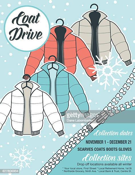 winter coat drive charity poster template. - coat stock illustrations