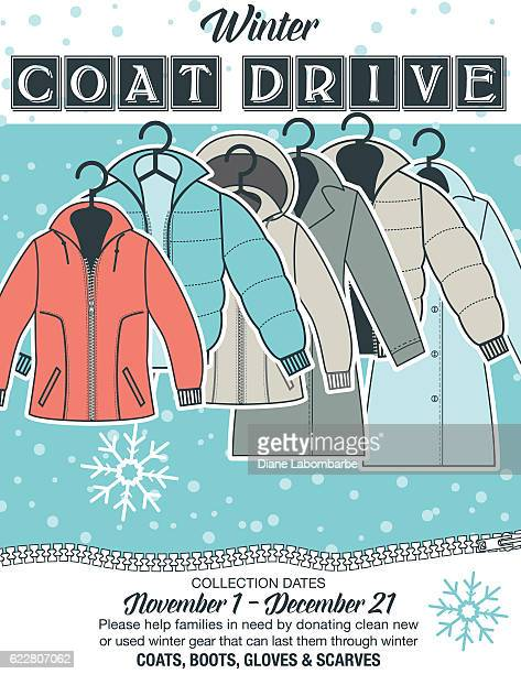 Winter Coat Drive Charity Poster template.