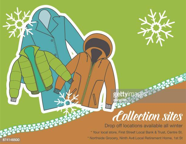 winter coat drive charity poster template - coat stock illustrations