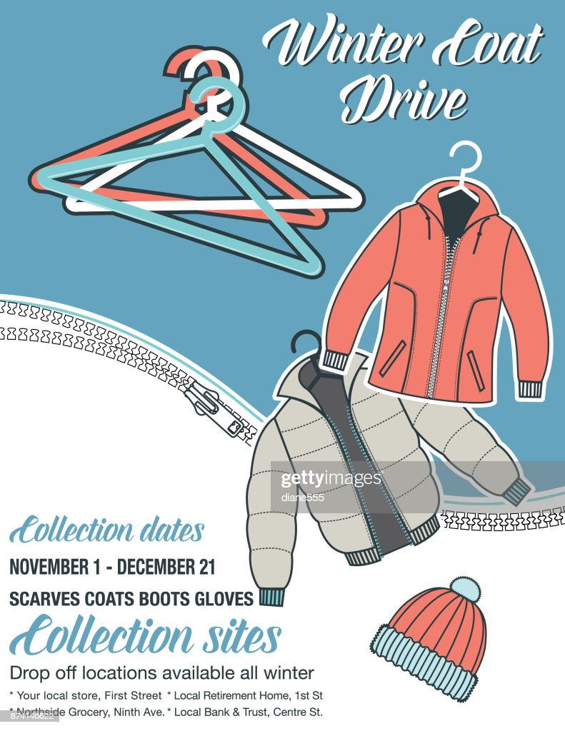 Winter Coat Drive Charity Poster template