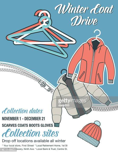 winter coat drive charity poster template - motivation stock illustrations, clip art, cartoons, & icons