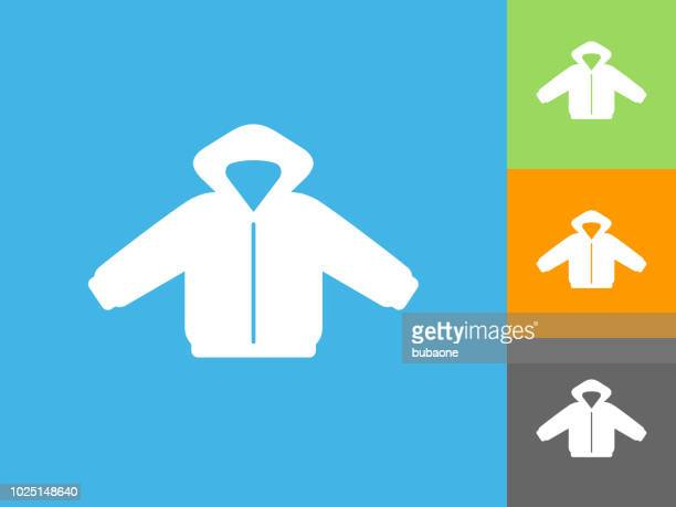 winter coat flat icon on blue background - winter coat stock illustrations
