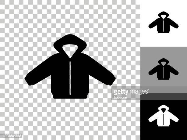 winter coat icon on checkerboard transparent background - winter coat stock illustrations