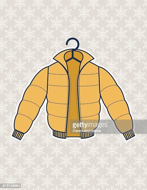 Winter Coat Illustration On A Snowflake Background