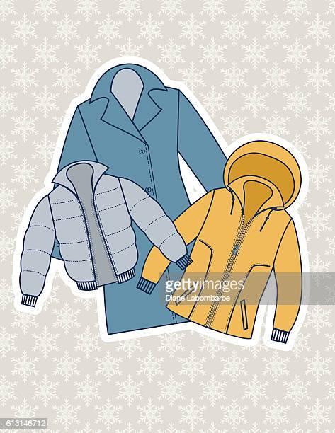 winter coat illustration on a snowflake background - winter coat stock illustrations
