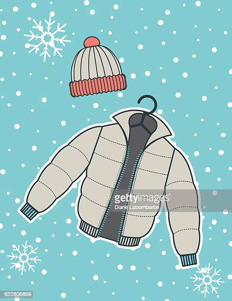 Winter Coats On A  Snowflake Background