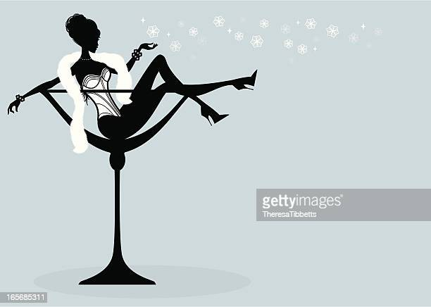 winter cocktail girl - en búsqueda stock illustrations