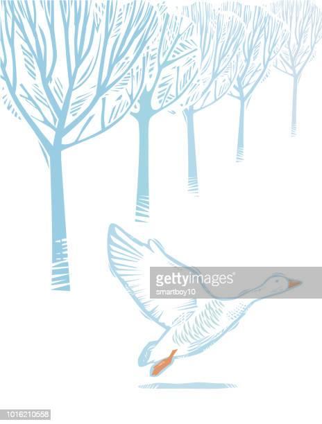 ガチョウと冬の田舎のシーン - 水鳥点のイラスト素材/クリップアート素材/マンガ素材/アイコン素材