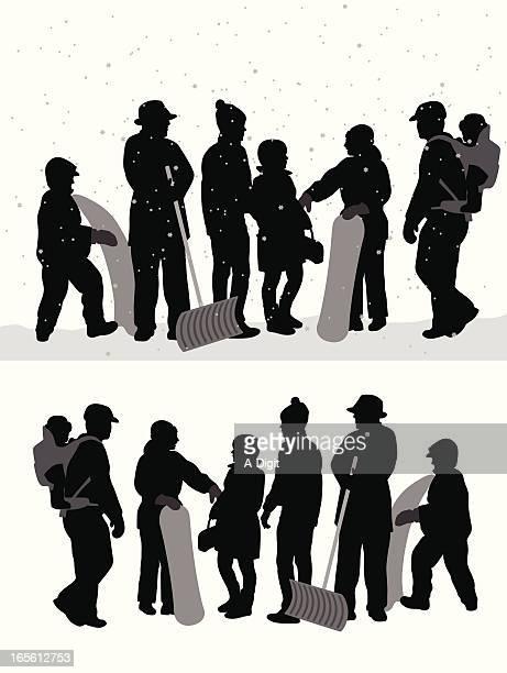 winter crowd vector silhouette - snow shovel stock illustrations