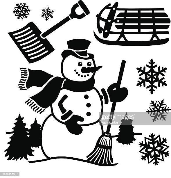 winter design elements - snow shovel stock illustrations
