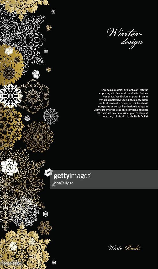 Winter design with silver white snowflakes