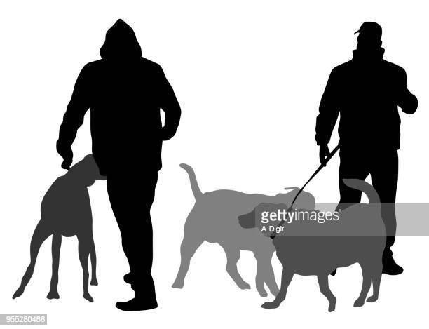 winter dog walks - hooded top stock illustrations