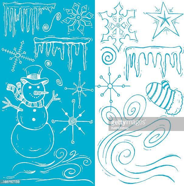 冬に向けて雪の結晶のスケッチ、スノーマンと冷凍 Icicles