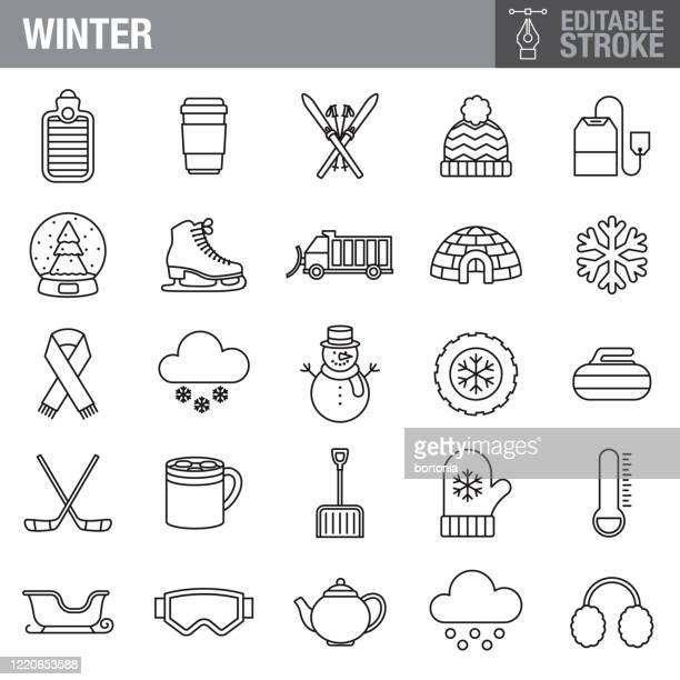 winter editable stroke icon set - winterdienst stock illustrations