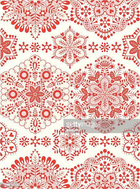 winter embroidery - folk music stock illustrations