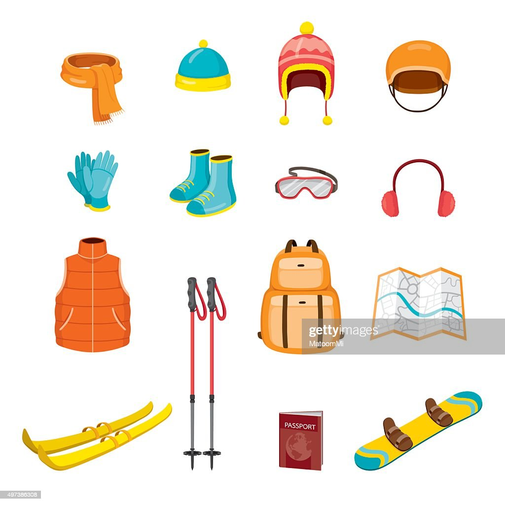 Winter Equipment Icons Set