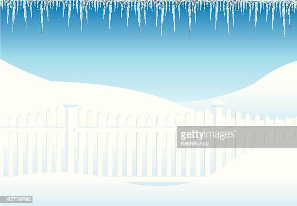 冬のフェンスに垂れ下がる Icicles 背景