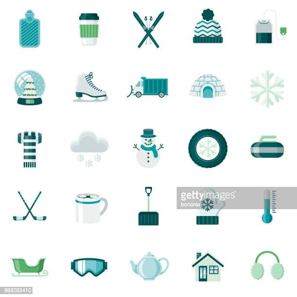 stockillustraties, clipart, cartoons en iconen met winter flat design icon set - wintersport