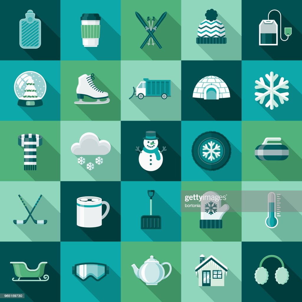 Winter Flat Design Icon Set with Side Shadow