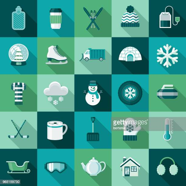 winter flat design icon set with side shadow - winter sport stock illustrations