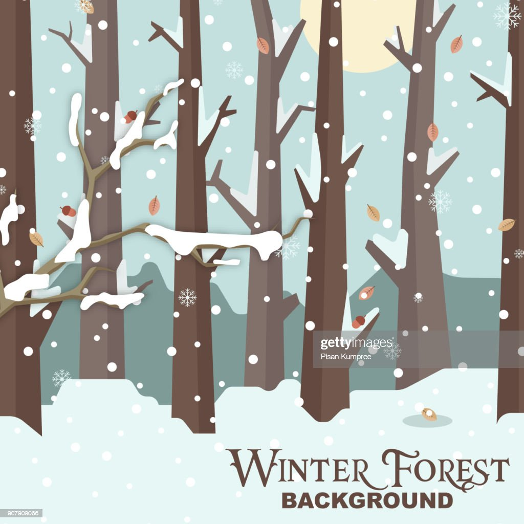 Winter Forest Background Snow Tree Vector Image