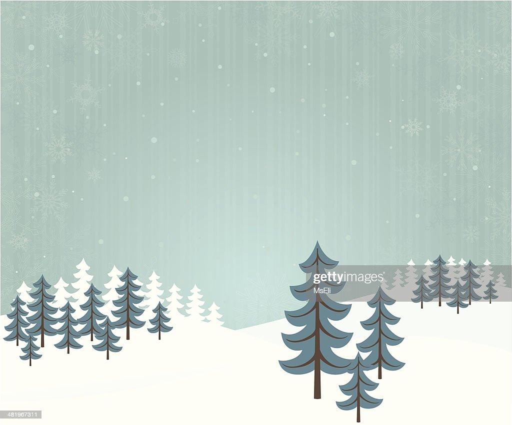 Winter forest landscape : stock illustration