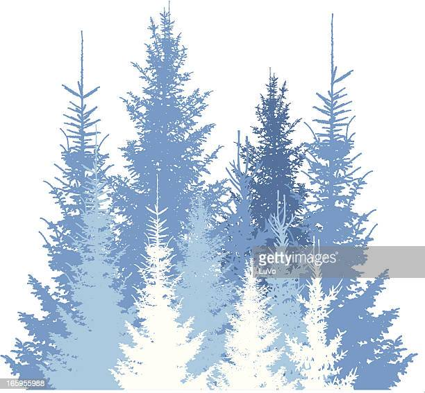 Winter forest silhouette background