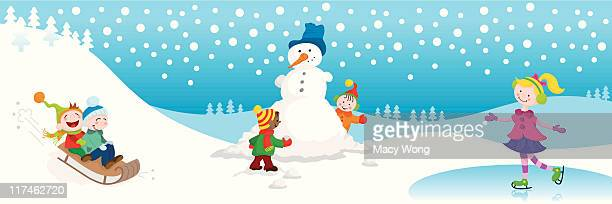 winter fun cute kids - tobogganing stock illustrations, clip art, cartoons, & icons