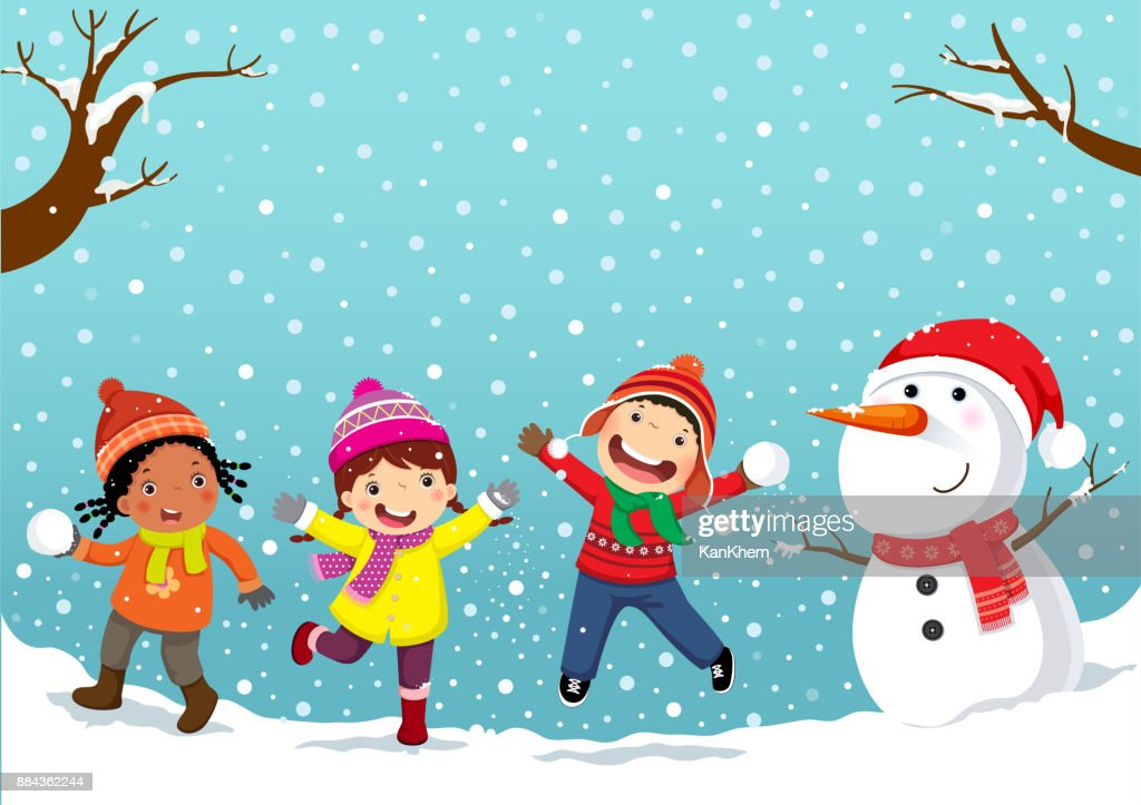 Winter fun. Happy children playing in the snow