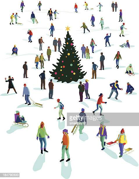 winter fun in the snow - tobogganing stock illustrations, clip art, cartoons, & icons