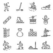 Winter games icons set. Editable stroke.