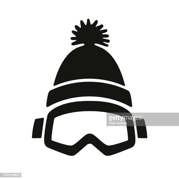 illustrations, cliparts, dessins animés et icônes de chapeau et des lunettes de protection hivernales - ski alpin